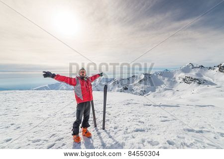 Alpinist With Back Country Ski