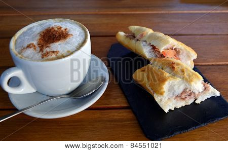 Tuna Baguette  And Cup Of Cappuccino