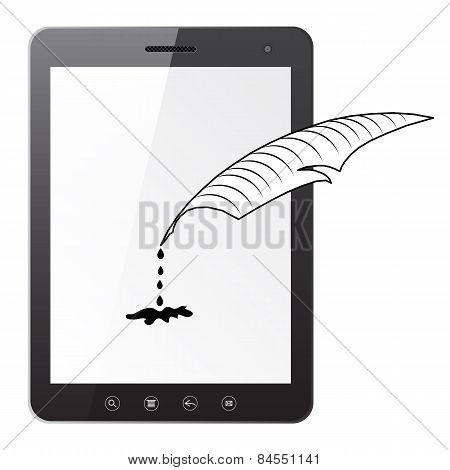 Tablet Pc Computer With A Pen And Ink