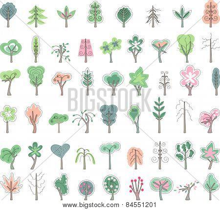 Big set with stylized trees