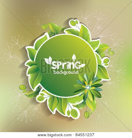 Vector green leaf frame, spring background