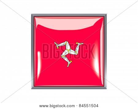 Square Icon With Flag Of Isle Of Man