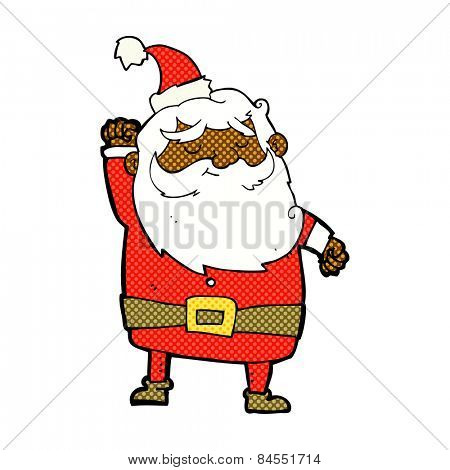 retro comic book style cartoon santa claus punching air