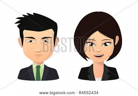 Asian Female And Male Wearing Suit