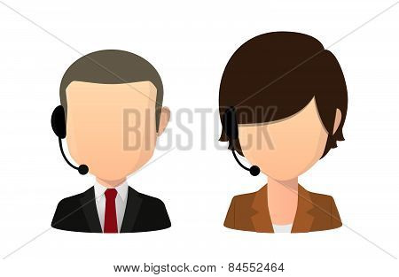 Asian Female And Male Faceless Avatar Wearing A Head Set