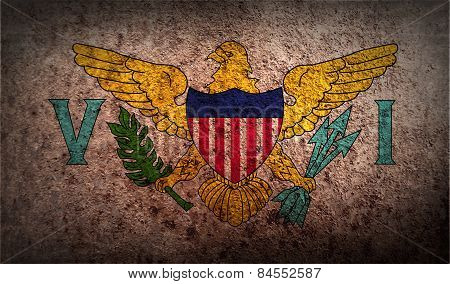 Flag Of Virgin Islands Us With Old Texture. Vector