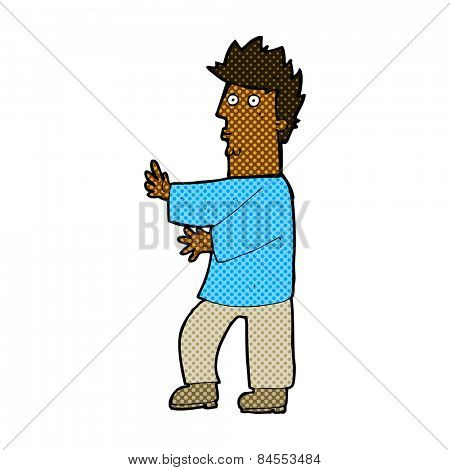 retro comic book style cartoon nervous man waving