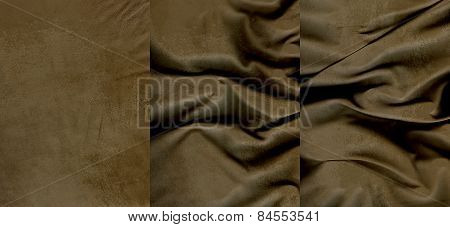 Set Of Brown Suede Leather Textures