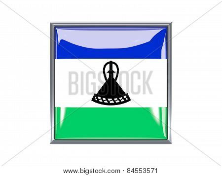 Square Icon With Flag Of Lesotho