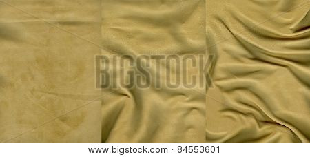 Set Of Very Soft Yellow Suede Leather Textures