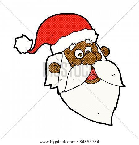 retro comic book style cartoon jolly santa claus face