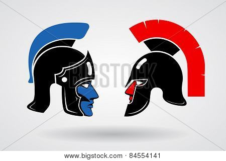 Gladiators. Heads in ancient helmets