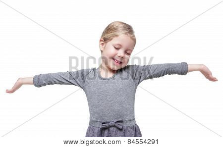 Beautiful Little Girl Stretching Her Arms To Wake Up Isolated