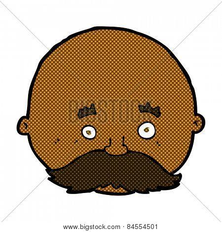 retro comic book style cartoon bald man with mustache