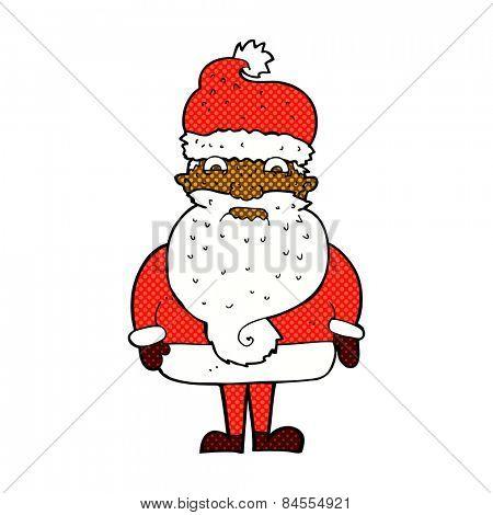 retro comic book style cartoon grumpy santa claus