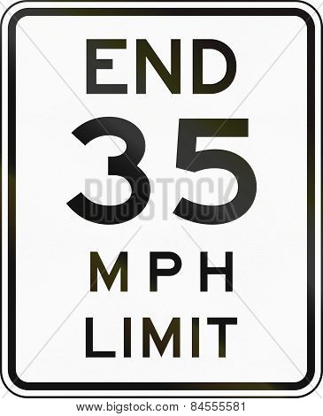 New York State End Speed Limit Sign