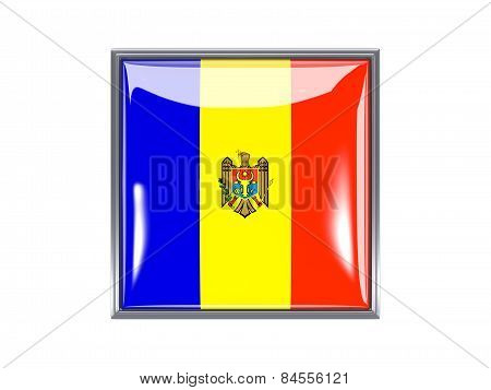 Square Icon With Flag Of Moldova
