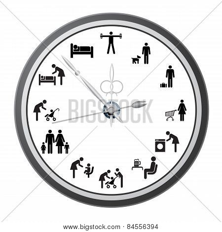 Clock Of Icons Of People.