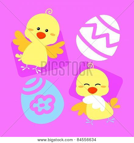 Easter chicks in pink vector