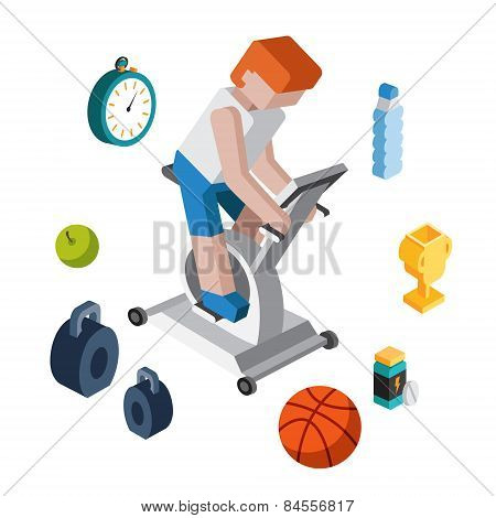 Sport exercise workout flat 3d isometric modern design concept