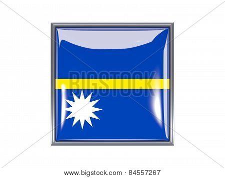 Square Icon With Flag Of Nauru