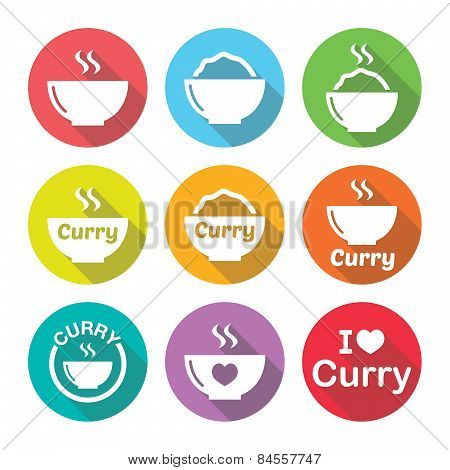 Curry, Indian spicy food icons set