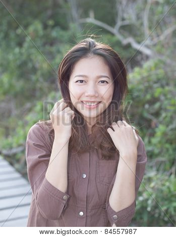 portrait of beautiful young woman toothy smiling with happy face and joy emotion