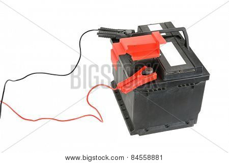 battery and charger isolated on a white background