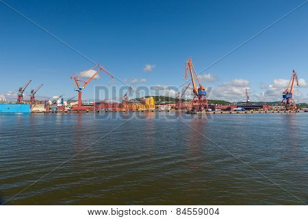 Large industrial shipping harbour in Gothenburg, Sweden