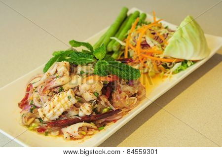 spicy Thai style salad with grass noodle and seafood