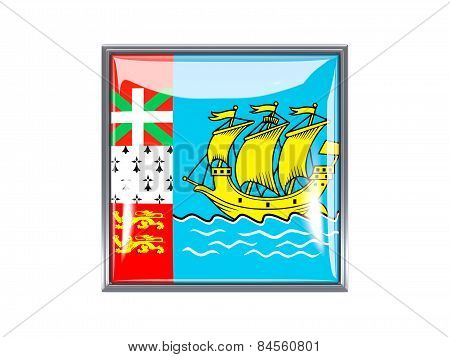 Square Icon With Flag Of Saint Pierre And Miquelon