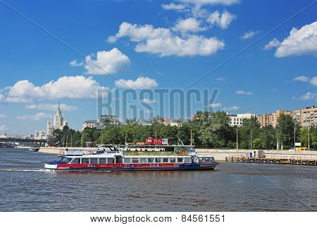 Floating Pleasure Boat With People In Moscow, Russia