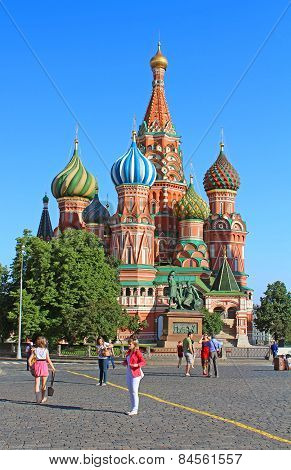 View of Pokrovsky cathedral on Red square in Moscow, Russia