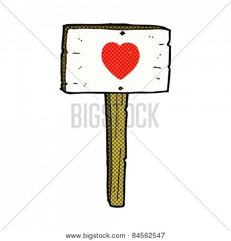 retro comic book style cartoon love heart sign post