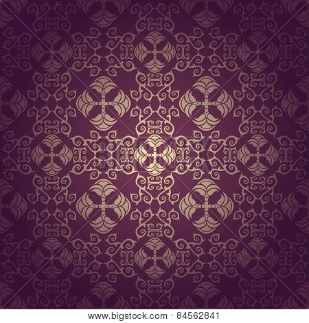 Seamless floral baroque purple background