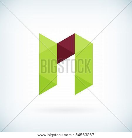 Modern Letter N Icon Flat Design Element Template