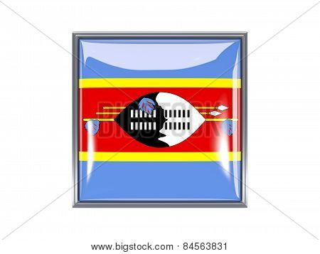 Square Icon With Flag Of Swaziland