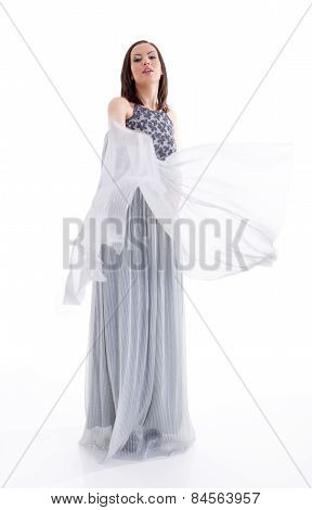 Beautiful Woman In A Gray Dress