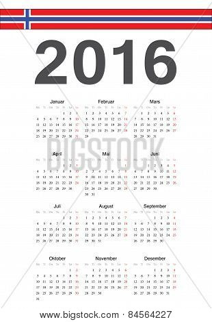 Norwegian 2016 Year Vector Calendar