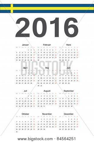 Swedish 2016 Year Vector Calendar