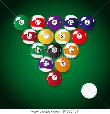Complete Set Of Color Billiards Balls Eps10