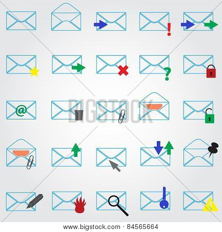 Computer Mail Simple Outline Blue Icons Eps10