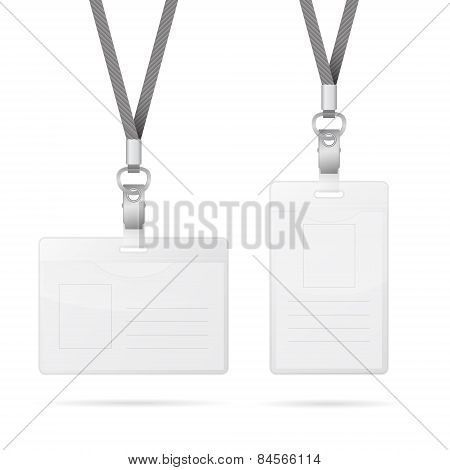 Lanyard With Transparent Empty Vertical And Horizontal Tags Badge Holder Isolated On White