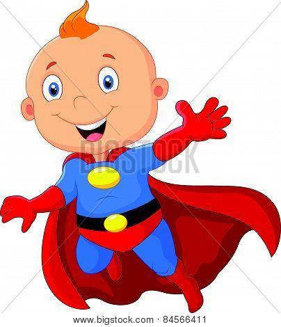 Cute cartoon baby superhero