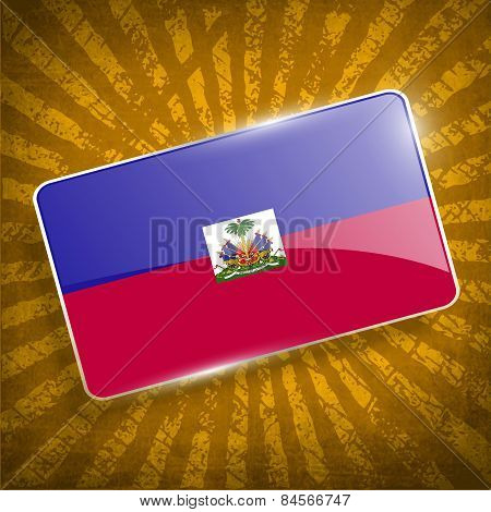Flag Of Haiti With Old Texture. Vector
