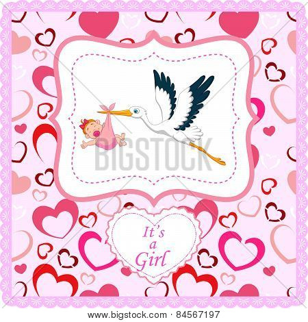 Cartoon stork with baby girl card