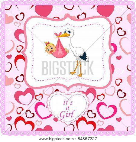 Cartoon stork with baby card