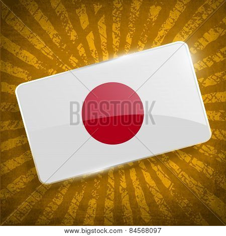 Flag Of Japan With Old Texture. Vector