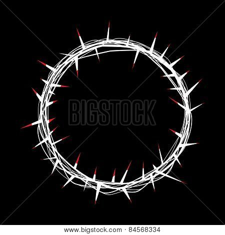 Crown Of Thorns With Red Blood Of Christ Illustration