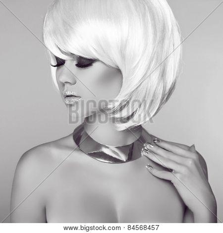 Glamour Fashion Woman Portrait. Hairstyle. Smokey Eyes Makeup. Fringe. Blond Girl Isolated On Grey B
